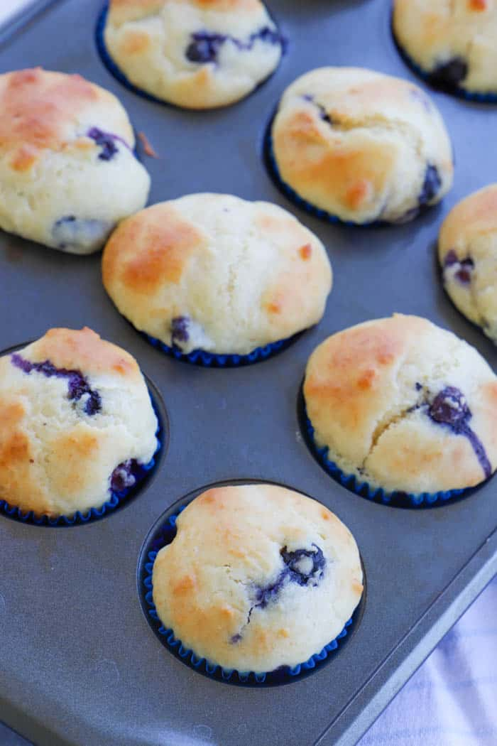 Greek Yogurt Blueberry Muffins in the pan cooked