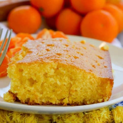 Orange Juice Cake on a white plate