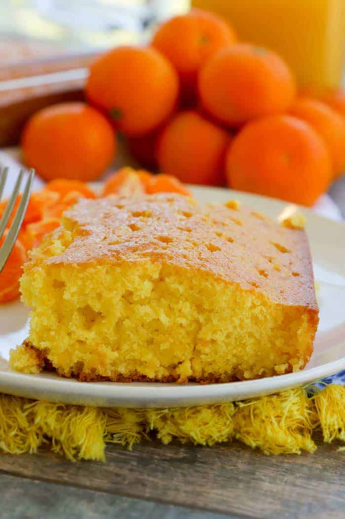 Orange Juice Cake on a white plate