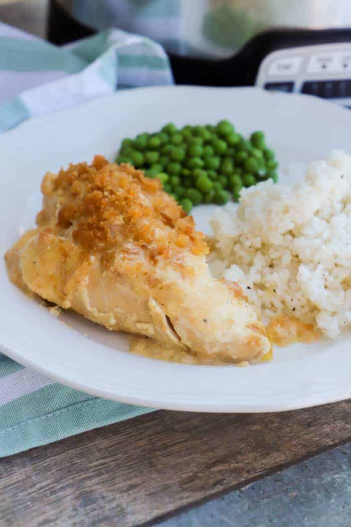 SlowCooker Ritz Chicken with rice and peas