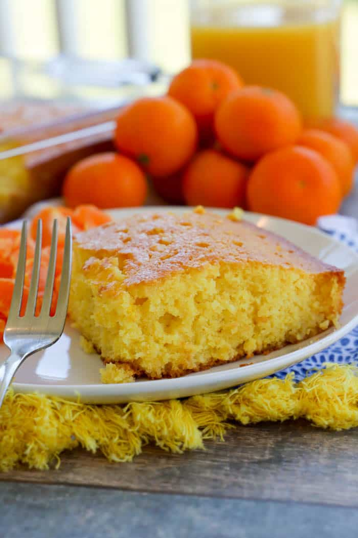 Orange Juice Cake with a silver fork