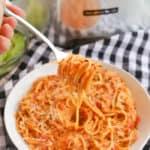 Slow Cooker Creamy Tomato Chicken Spaghetti on a fork