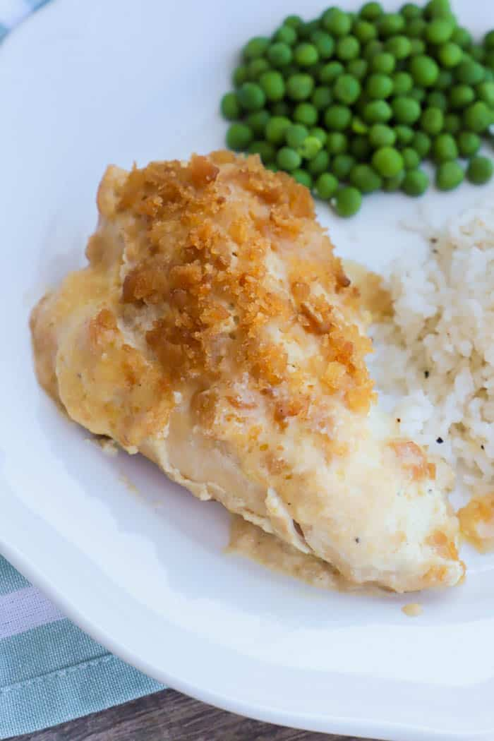 SlowCooker Ritz Chicken on a white plate