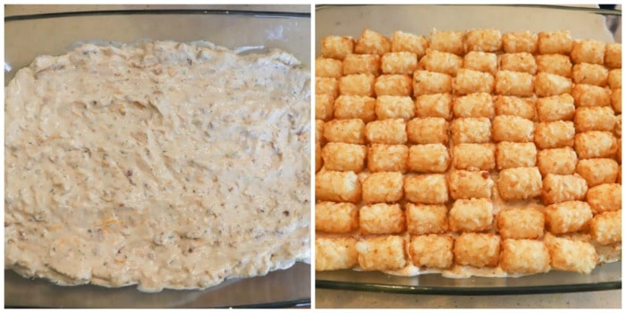 adding filling and tater tots to the casserole dish process picture