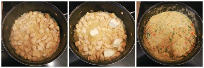 cooking steps 1 -3 in the large pot