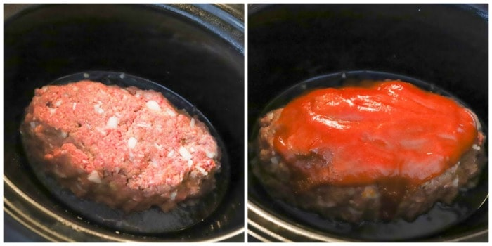 meatloaf in the slow cooker before cooking