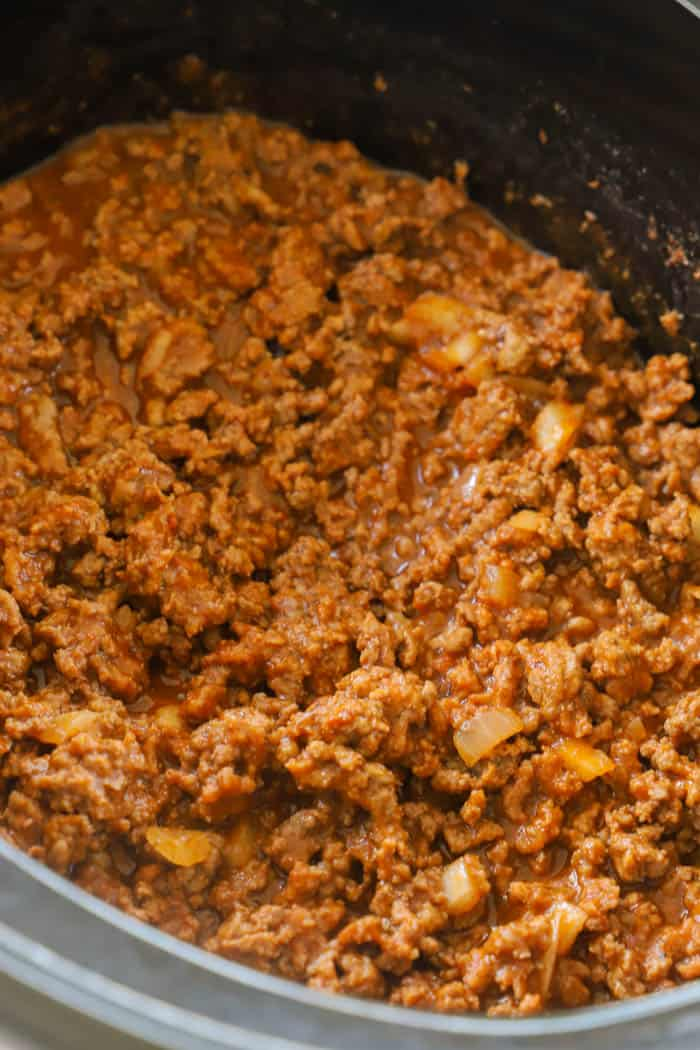 Slow Cooker Sloppy Joes in the slow cooker