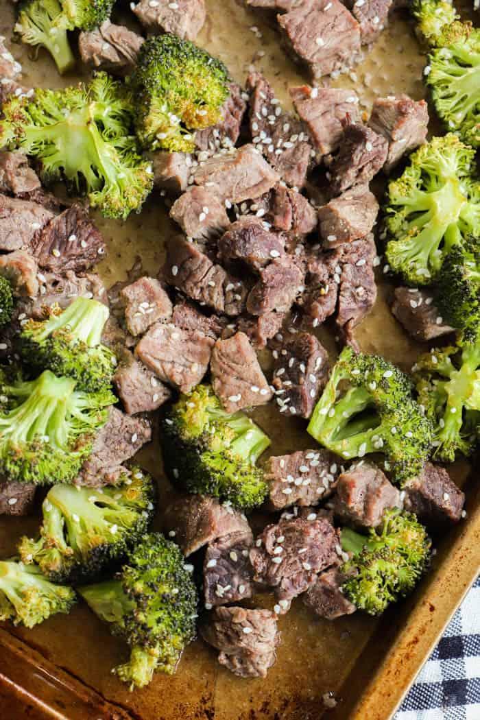 Sheet Pan Beef and Broccoli on a pan