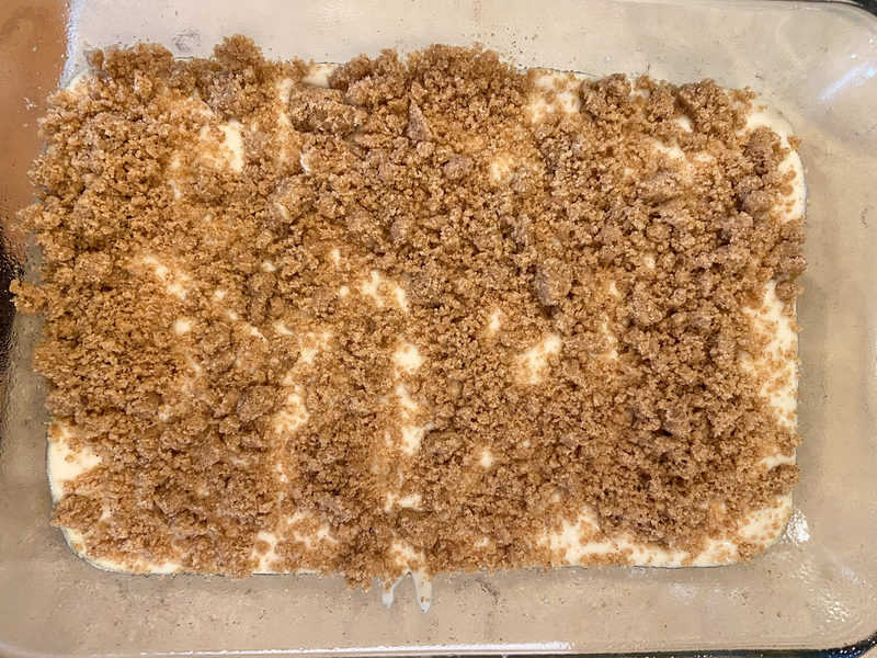 Coffee Cake before baking in dish
