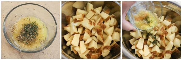 dicing potatoes and adding seasonings