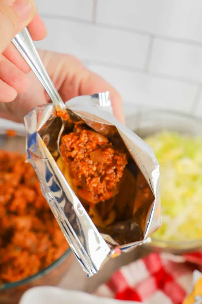 adding ground beef to Walking Tacos