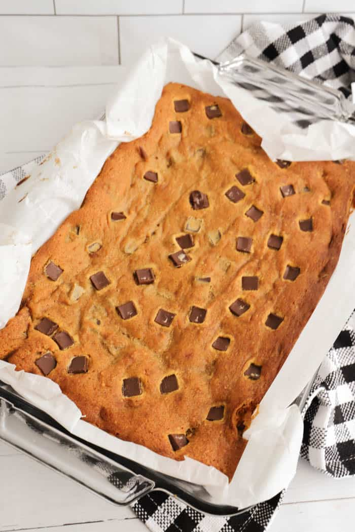 Chocolate Chip Pumpkin Bars in baking dish before cutting