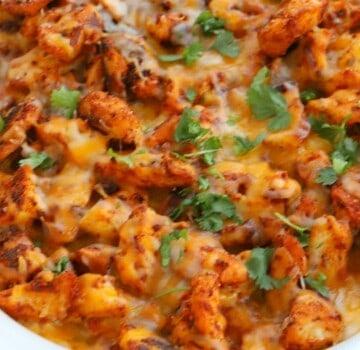 Chicken and Rice Queso Casserole closeup