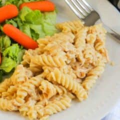 Slow Cooker Italian Chicken Pasta on white plate with salad