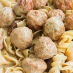Close up Slow Cooker Swedish Meatballs with noodles