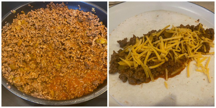 process shot cooking beef and adding to the tortilla