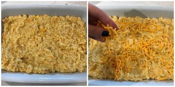 Cheesy Ranch Chicken and Rice Casserole the casserole dish adding cheese