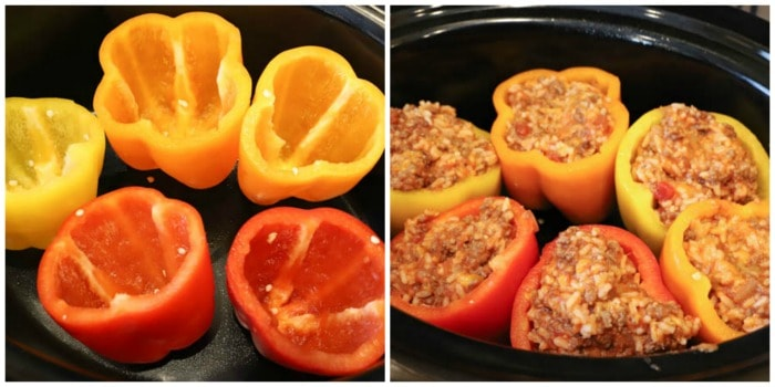 process shots. peppers in a slow cooker