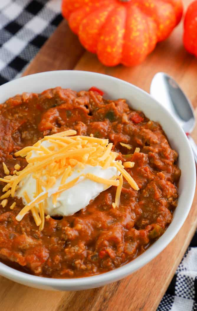 Slow Cooker Pumpkin Chili in a white bowl