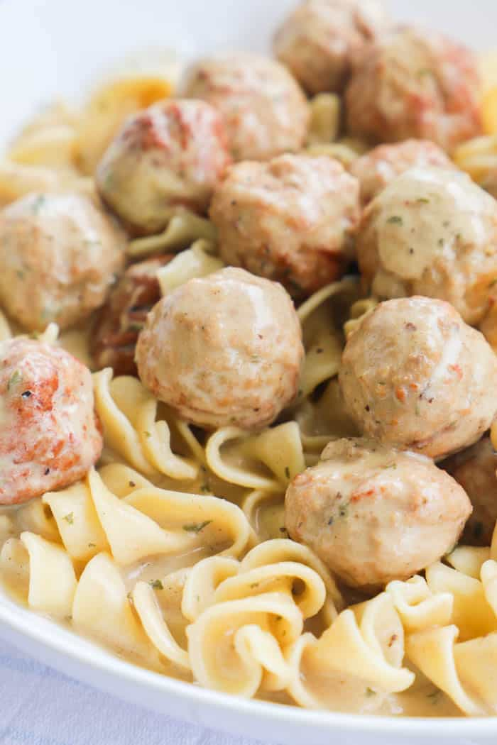 Slow Cooker Swedish Meatballs in a white bowl