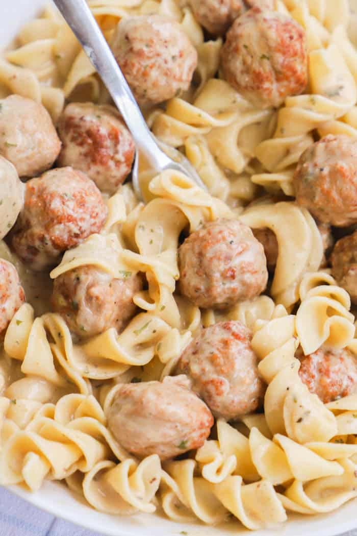 Slow Cooker Swedish Meatballs with a fork