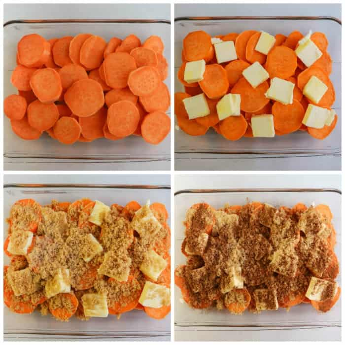 sliced yams prepped in a casserole dish before baking
