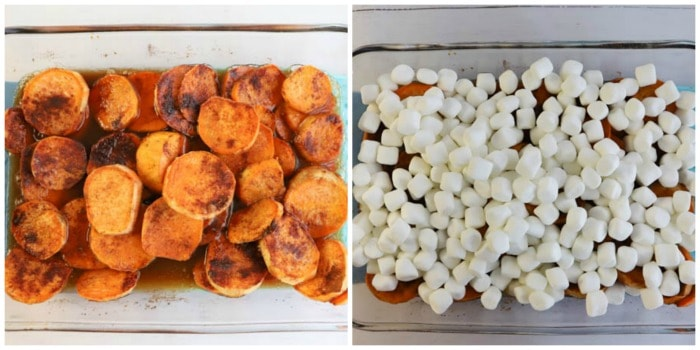 adding marshmallows to the mixed up yams