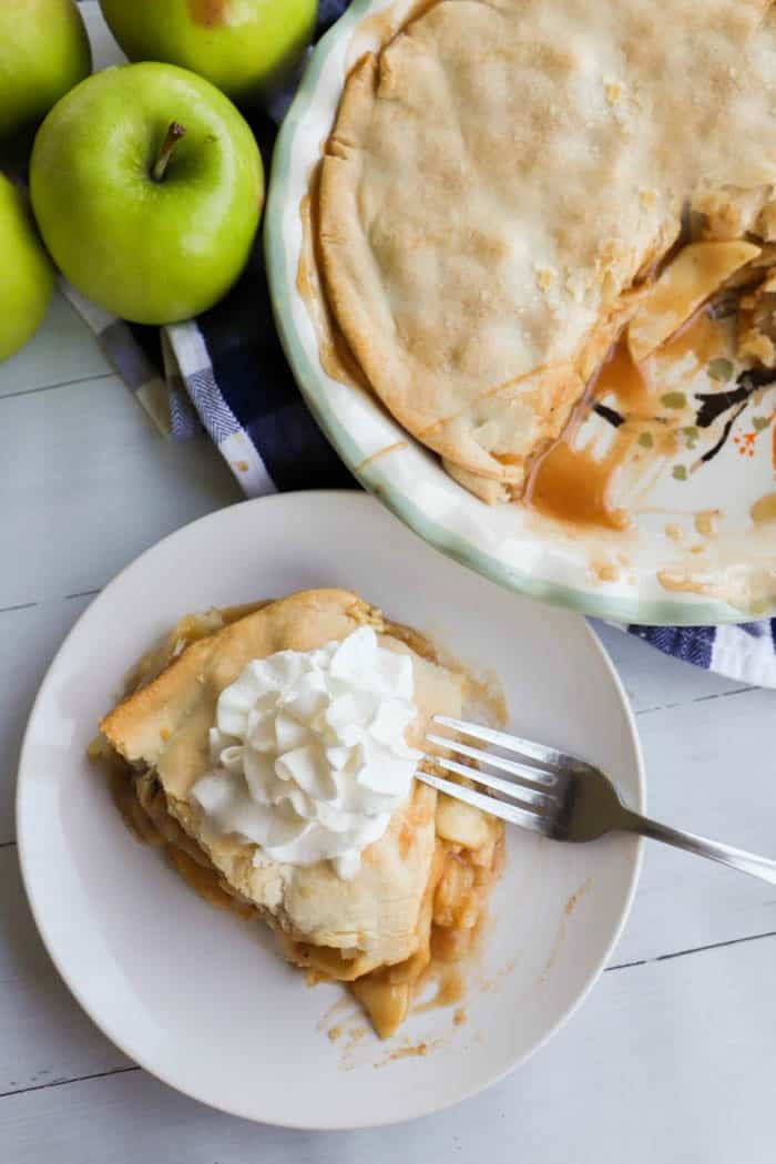 top view apple pie with whipped cream
