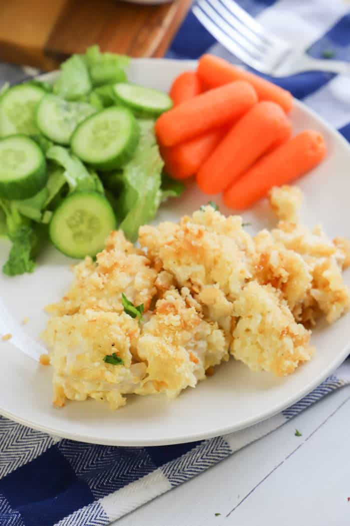 Cream Cheese Ritz Cracker Casserole with salad and carrots as sides