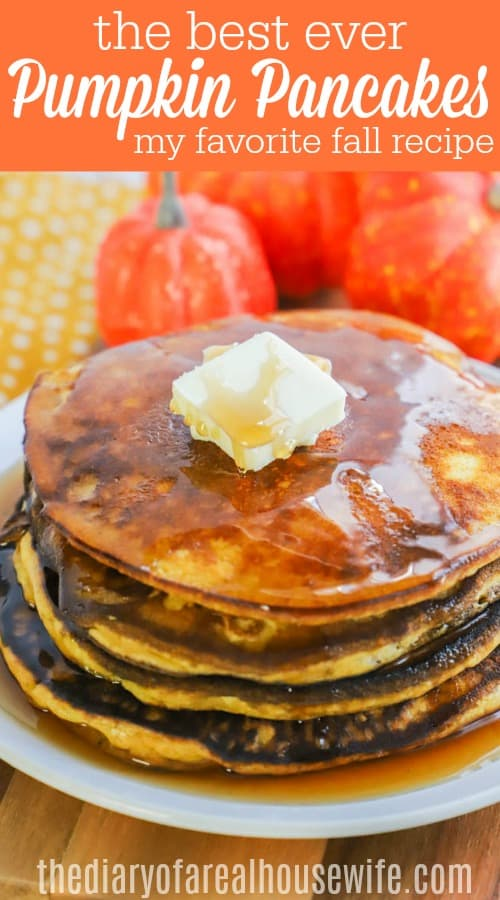 Pumpkin Pancakes closeup stacked with butter and syrup