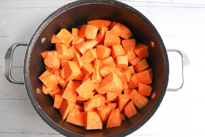 diced sweet potatoes in a pot