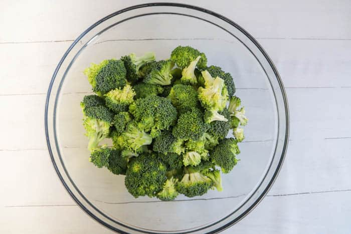 chopped broccoli in a bowl