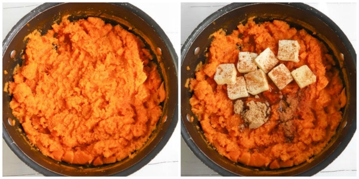 sweet potatoes cooked and mashed and adding butter and seasoning