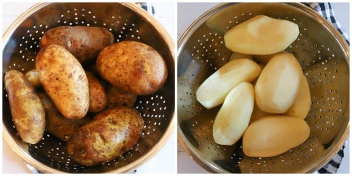 washing and peeling potatoes