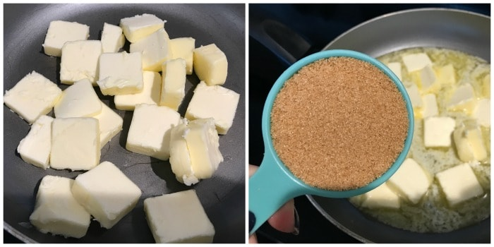 butter and sugar melting in a pot