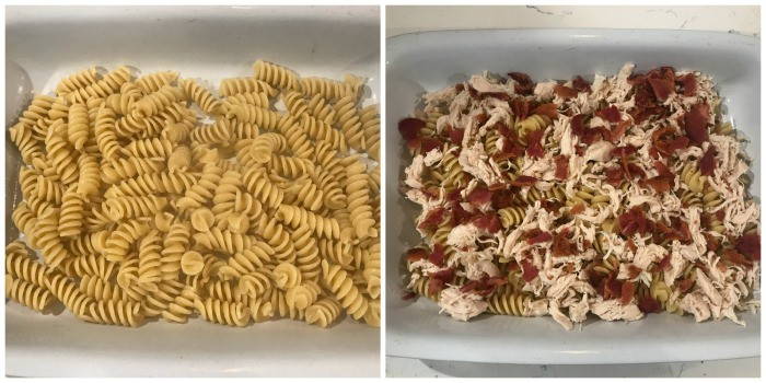 adding pasta then chicken and bacon to the casserole dish