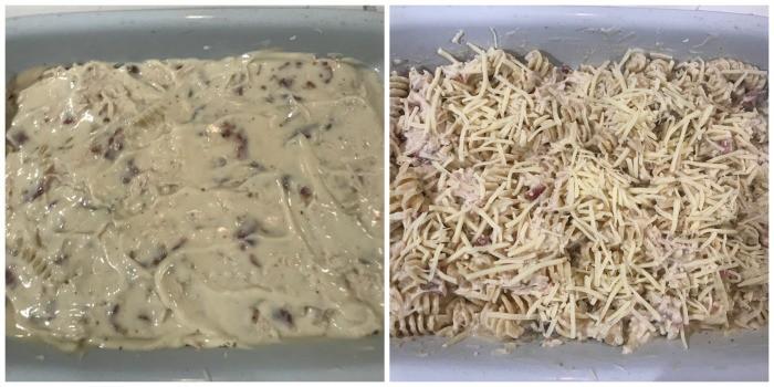 adding Alfredo sauce and cheese