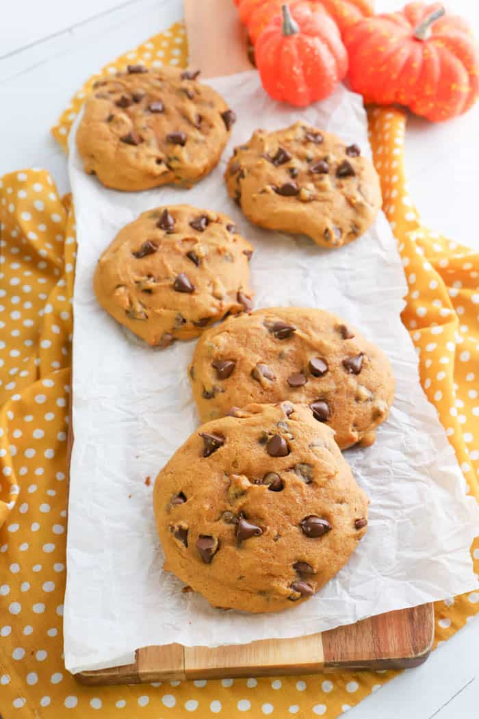 Pumpkin Chocolate Chip Cookies on a wooden board