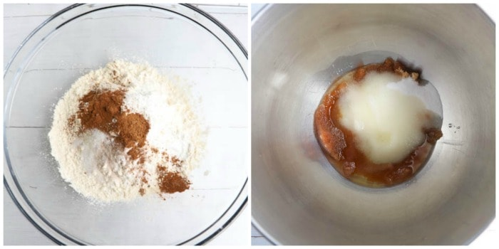 mixing dry and wet ingredients in separate bowls.
