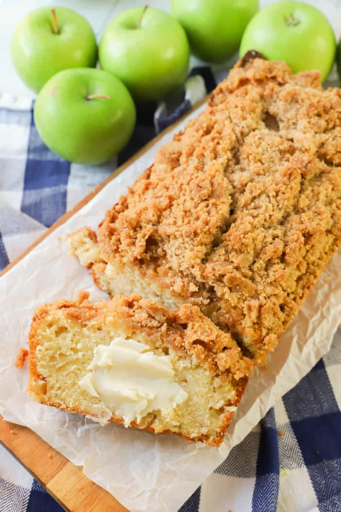 Dutch Apple Pie Bread with butter for serving