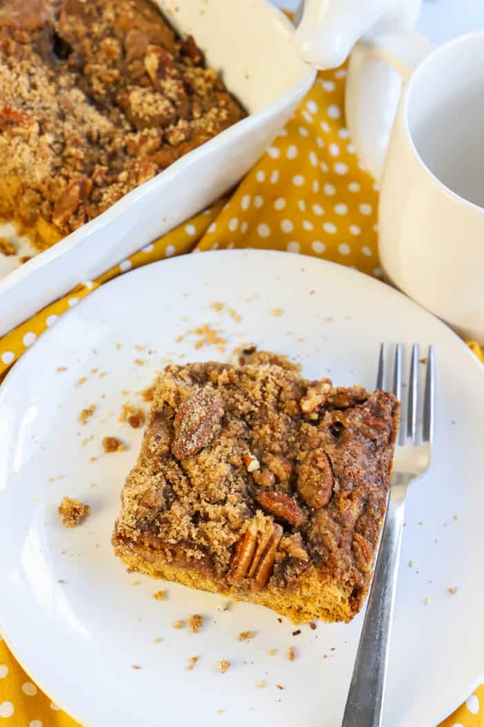 Pumpkin Spice Coffee Cake on a plate with a fork