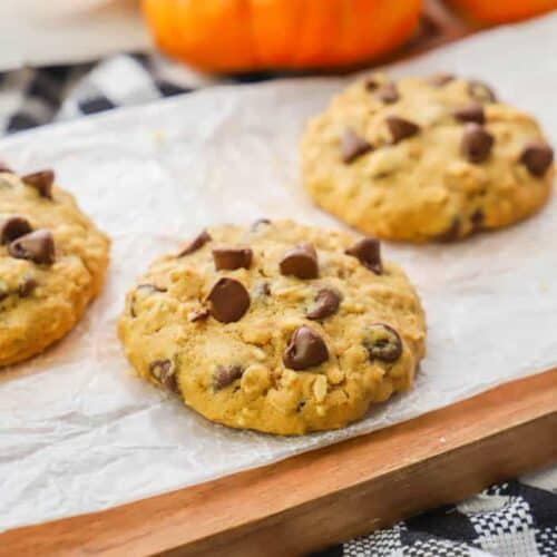 Pumpkin Oatmeal Chocolate Chip Cookie on a wooden cutting board