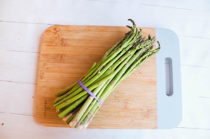 Asparagus on a cutting boars