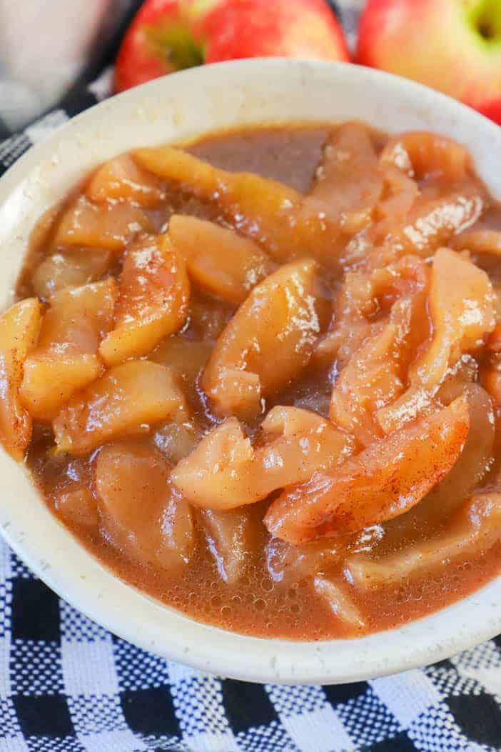 Slow Cooker Fried Apples in a white bowl