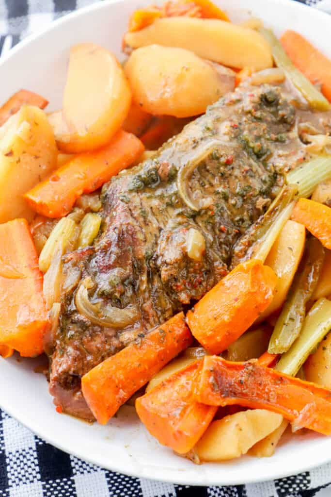 Slow Cooker Pot Roast in a white bowl