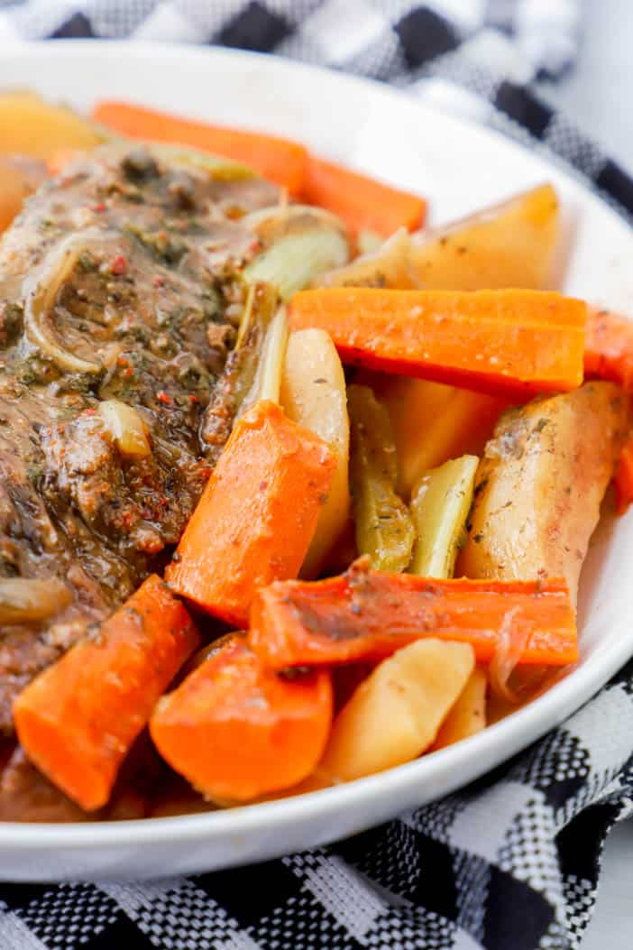 close up picture of carrots with Slow Cooker Pot Roast