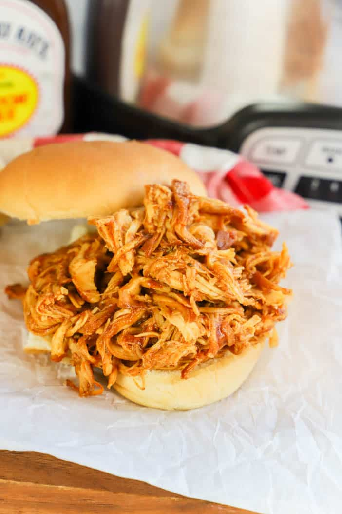 Slow Cooker Pulled BBQ Chicken on a bun