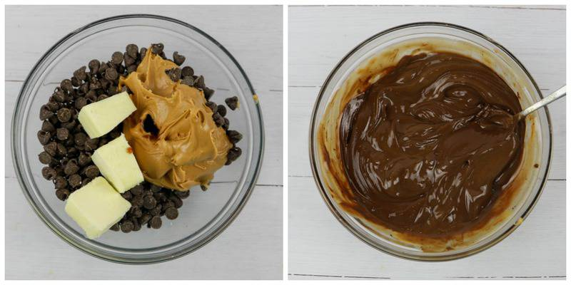 chocolate and other ingredients in a bowl and melted
