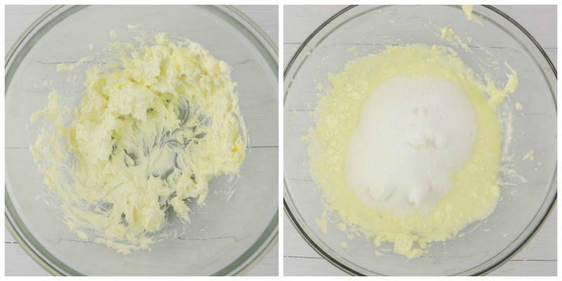 creamed butter with sugar on top