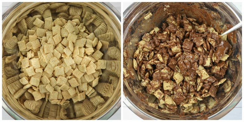 Chex mix cereal in a bowl